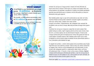 Panfleto para Crianças - Dia Mundial de Conscientização do Autismo