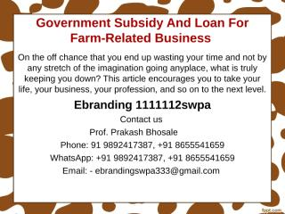 2.Government Subsidy And Loan For Farm-Related Business.ppt
