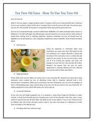 Tea Tree Oil Uses - How To Use Tea Tree Oil.doc
