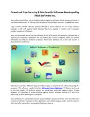 Download Free Security & Multimedia Software Developed by AKick Software Inc..pdf